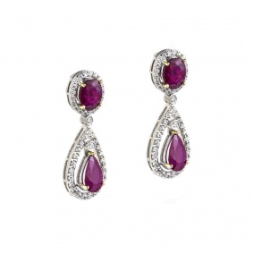 18k White Gold Ruby and Diamond Earrings 7.67ct
